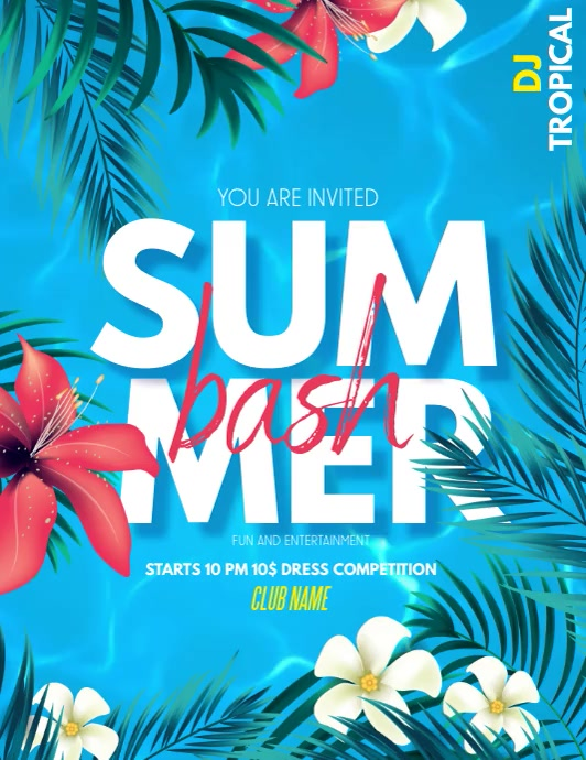 Summer party ,pool party ,spring Volante (Carta US) template