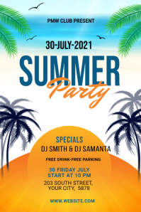 Summer Party banner design Bannière 4' × 6' template