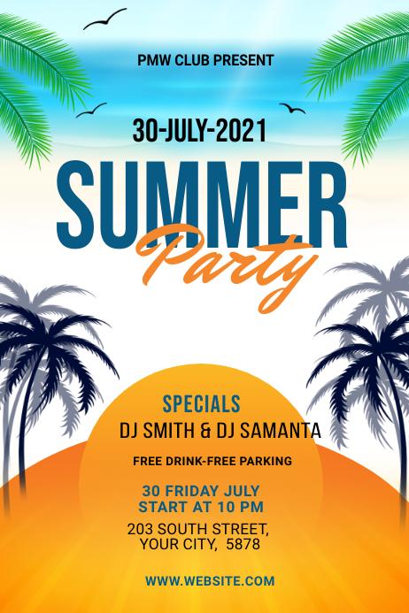 Summer Party banner design template