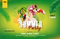 summer party banner Spanduk 4' × 6' template