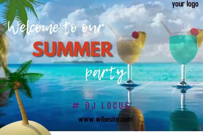 Summer party Banner 4 x 6 fod template