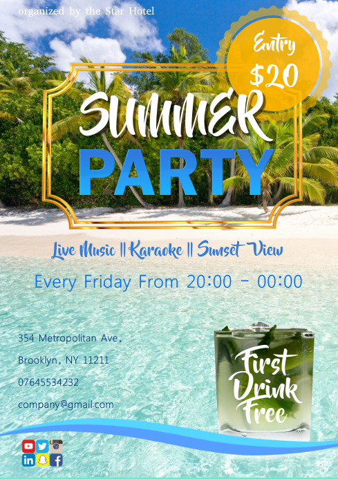 Summer Party A3 template