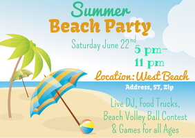 Summer Party Postal template