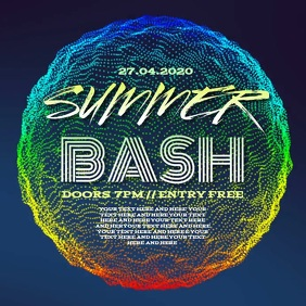 SUMMER PARTY EVENT FLYER AD TEMPLATE Vierkant (1:1)
