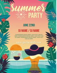 summer party event FLYER TEMPLATE 传单(美国信函)