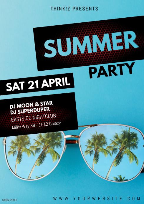 Summer Party Event Palms beach bar club sun A4 template