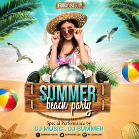 Summer Party Flyer, Hello Summer, Summer Instagram Post template