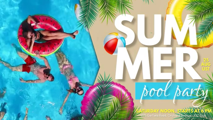 Summer Party Flyer, Hello Summer, Summer Facebook-covervideo (16:9) template