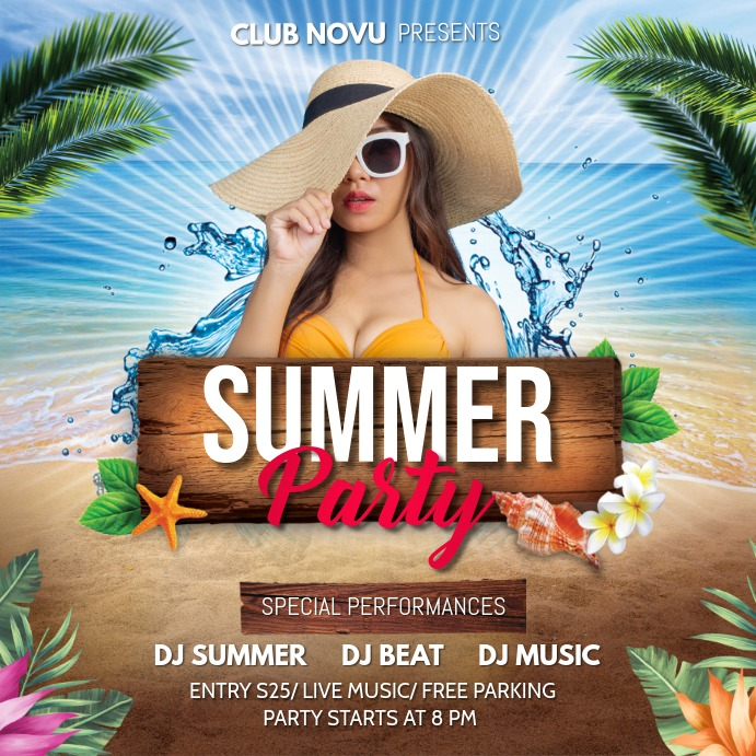 Summer Party Flyer, Hello Summer,Summer Beach Instagram-opslag template