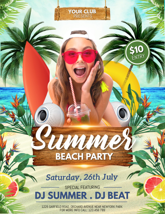 Summer Party Flyer, Hello Summer,Summer Beach Løbeseddel (US Letter) template