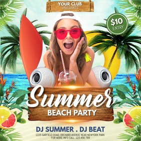 Summer Party Flyer, Hello Summer,Summer Beach