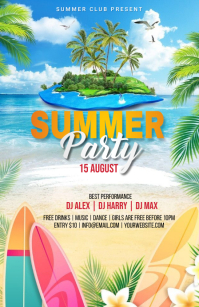 Summer Party Flyer Halv side bred template