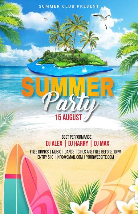 Summer Party Flyer ความกว้างแบบครึ่งหน้า template