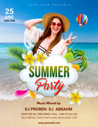 Summer Party flyer Folheto (US Letter) template