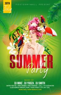 Summer Party Flyer Design Halv side bred template