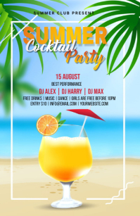 Summer cocktail Party Flyer Halv side bred template