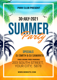 summer Party Flyer A4 template