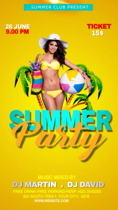 Summer Party Flyer Template Instagram Story