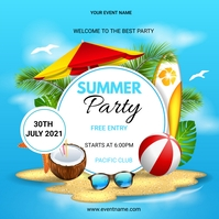 Summer party flyers Post Instagram template