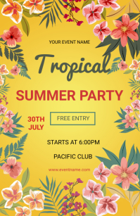 Summer party flyers Tabloid template