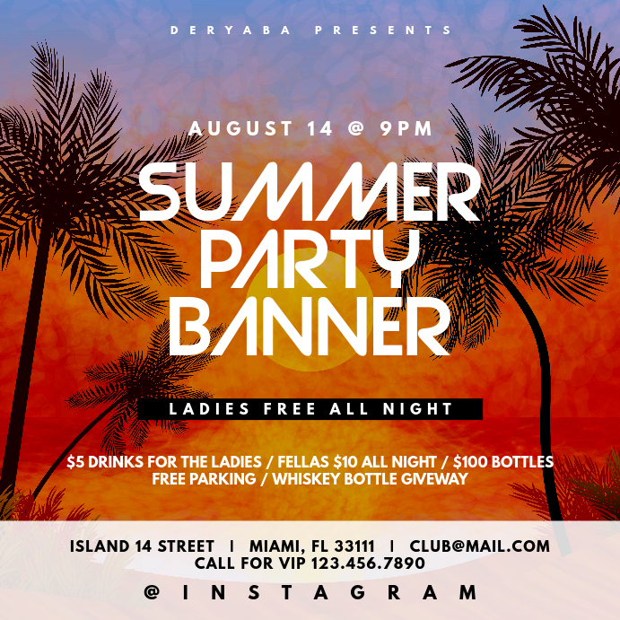 Summer Party Instagram Banner Template