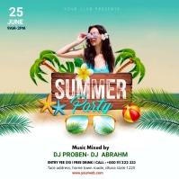Summer Party Instagram post Kvadrat (1:1) template