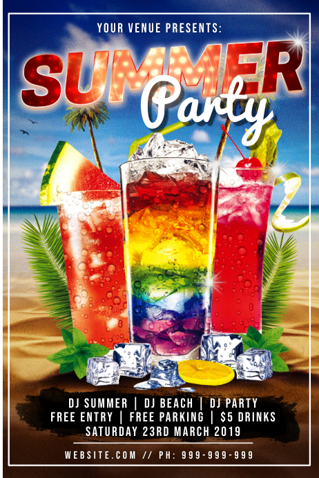 Summer Party Poster Póster template