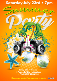 Summer Party Poster A3 template
