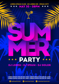 SUMMER PARTY POSTER A4 template