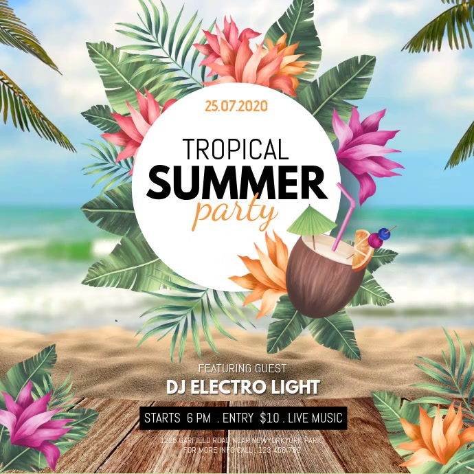 Summer Party Video, Hello Summer, Summer Instagram Post template