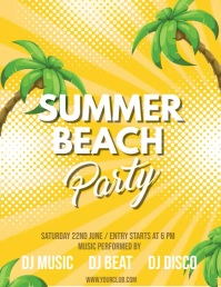 Summer Party Video,Summer Video, Summer Beach Party Video Flyer (US Letter) template