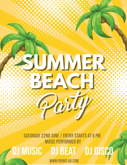 Summer Party Video,Summer Video, Summer Beach Party Video Løbeseddel (US Letter) template