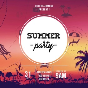 Summer Party Video Ad template Square (1:1)