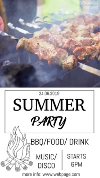 Summer party video flyer template Digital Display (9:16)