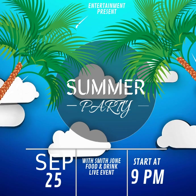Summer party video flyer template