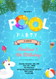 Summer pool birthday invitation A6 template
