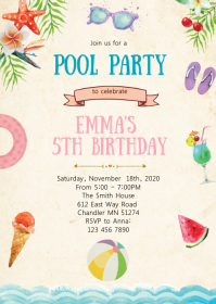 Summer pool birthday party invitation