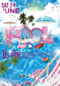 summer pool night A4 template