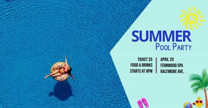 summer pool party โฆษณา Facebook template