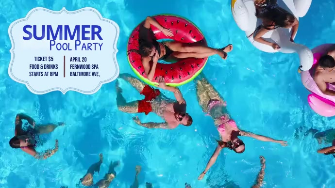 summer pool party Pos Twitter template