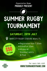 Summer Rugby Tournament Poster Template Плакат