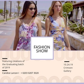 Summer Runway Fashion Show Advert Square (1:1) template