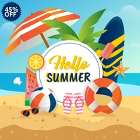 summer sale, spring, beach activities Kwadrat (1:1) template