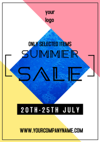 Summer sale advert template a4 square poster