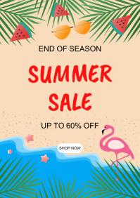 Summer sale banner. A5 template