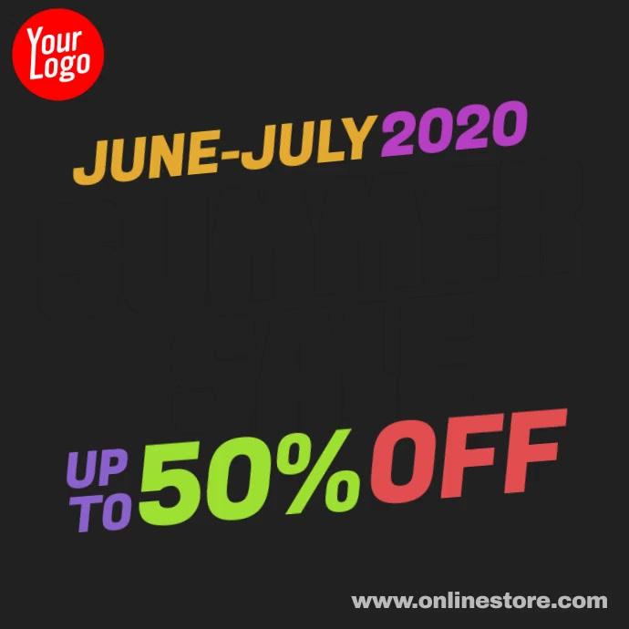Summer Sale colorful ink animation promo Publicación de Instagram template