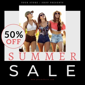 Summer Sale Discount Flyer Post Ad Template Square (1:1)