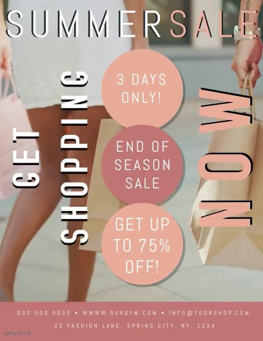 Summer Sale Event Flyer Poster Template Løbeseddel (US Letter)