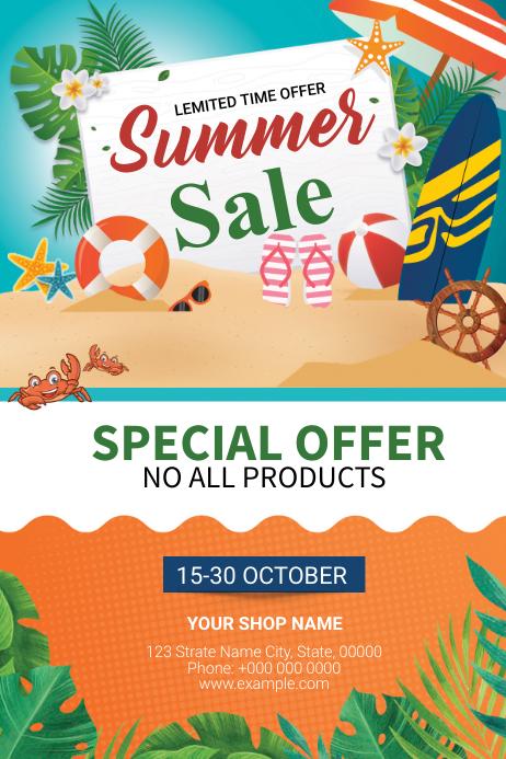 Summer Sale Flyer 标签 template