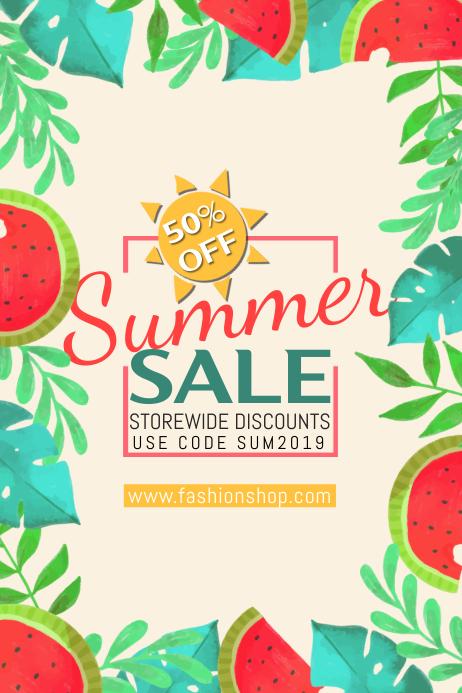 Summer Sale Poster Template Plakat